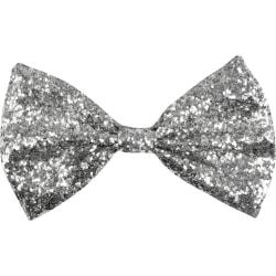 Silverfärgad fluga dekorerad med glitter Silver one size