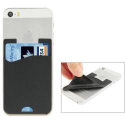 Korthållare i gummi till iPhone, Samsung, Sony Svart