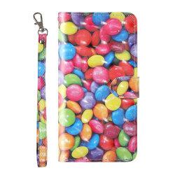 Plånbok med godis mönster till iPhone 7/8/SE 2020 multifärg