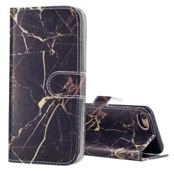 Plånbok med marmor-mönster för iPhone 8 Svart