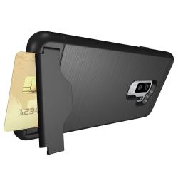 Stöttåligt skal med kortficka- Samsung Galaxy S9 Plus Svart