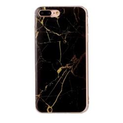 Svart och guld marmor- skal för iPhone 7 plus multifärg