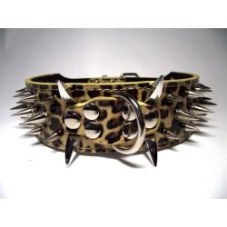 """Hund halsband 2"""" Leopard med nitar 49-57cm"""
