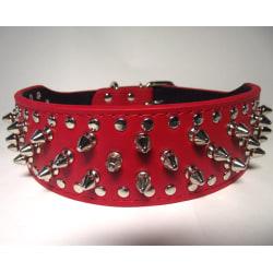 """Hund halsband 2"""" rött med nitar 44-52cm styling"""