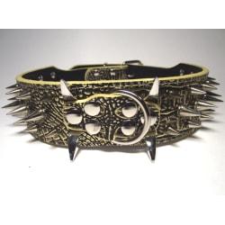 "Hund halsband 2"" svartguld med nitar 49-57cm"