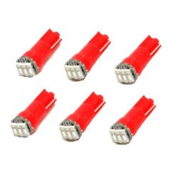 T5 röd 6-pack Led med 4014SMD chip W2x4.6d W2.1.x4.9d W1.2W W2.3 Red Röda 6-pack