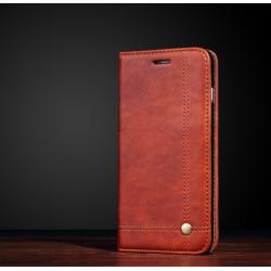 Crazy Horse Flip Case- iPhone X Brun