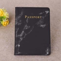 Marble passport cover Svart
