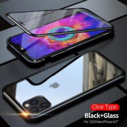 Dubbelsidig magnet fodral med härdat glas för iphone 11 pro max