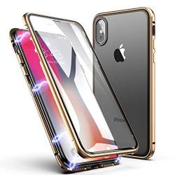 Dubbelsidig magnet fodral med härdat glas för iphone Xs max