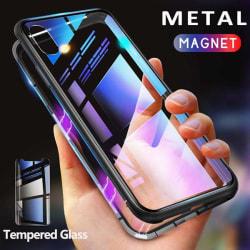 magnet fodral med härdat glas för iphone Xs max svart|svart Svart