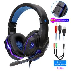 Professionell Gamer Headset för Dator och PS4 blå blå