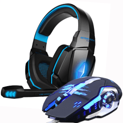 Spelheadset med mikrofon + spelmus blå blå