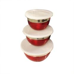 3 st skålar med lock, röd 2-set