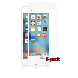5-pack iPhone 6S/6/7/8 Curved Silicate Glass Panzer, White