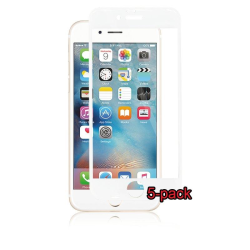 5-pack iPhone 6S/6 Plus Curved Silicate Glass, Panzer, White