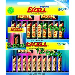 Batteripaket Beyond Excell AA (LR6), AAA (LR03) och 9V (6LR61),