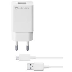 Cellularline Väggladdare 10W med microUSB-kabel, Vit