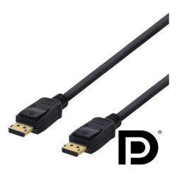 DELTACO DisplayPort-kabel, 1m, 4K UHD, DP 1.2, svart
