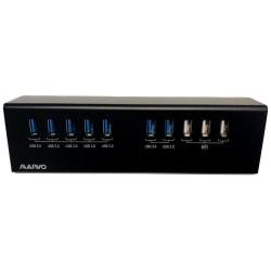 Extern USB 3.0-hubb, 10x USB-A, 7x USB 3.0, 3x USB 2.0 5V/2,1A,