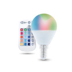 Fjärrkontrollstyrd LED-Lampa med RGB, E14, G45, 5W