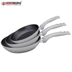 Herzberg HG-FP3- Set med 3 stekpannor 20-24-28cm, Silver Silver