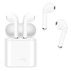 i7S Twins Wireless Earbuds Bluetooth Hörlurar + Strömbox - Vit