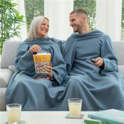 InnovaGoods dubbelfilt för par med ärmar & fickor, blå