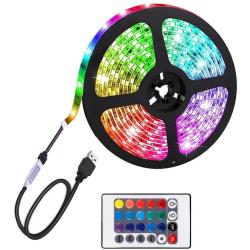 LED-strip, RGB med fjärrkontroll & USB - 3 Meter