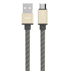 microUSB - USB laddkabel 1,5m, flätad, platt, Guld