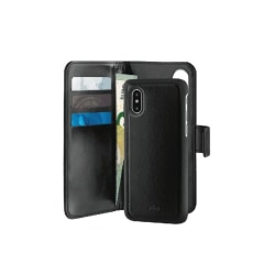 Puro Plånboksväska till iPhone XR, Magnet, Äkta läder, Svart