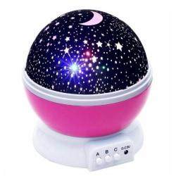 Rosa nattlampa med roterande stjärnhimmel