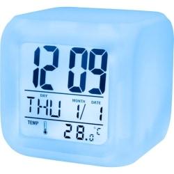 Setty digital väckarklocka med datum & temperatur, skiftar färg