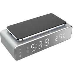 Väckarklocka med Qi-laddning och termometer, Silver
