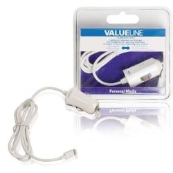 Valueline Billaddare lightning - 12 V 1 meter vit 2.4A