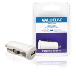 Valueline Billaddare med USB-kontakt vit 2.1A (VLMB11950W)