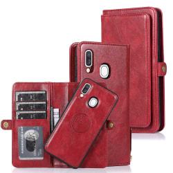 Elegant Dubbelfunktions Plånboksfodral - Samsung Galaxy A40 Röd