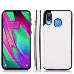 Elegant Skyddsskal med Korthållare - Samsung Galaxy A40 Vit