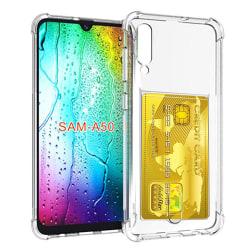Silikonskal med Korthållare - Samsung Galaxy A50 Transparent/Genomskinlig