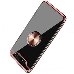 Samsung Galaxy A80 - Elegant Silikonskal med Ringhållare Floveme Guld