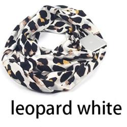 Bekväm Exklusiv Tunn Ringhalsduk Vit Leopard
