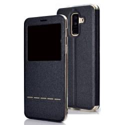 Hi-Q Smartfodral med Svarsfunktion till Samsung Galaxy A6 Plus Svart