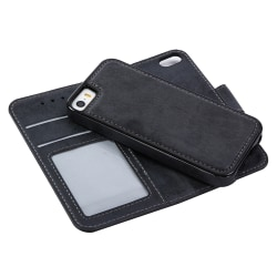 LEMAN Stilrent Plånboksfodral - iPhone 5/5S/SE Svart