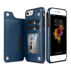 iPhone 6/6S - Läderskal med Plånbok/Kortfack (NKOBEE) Blå