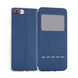 Smartfodral med Fönster & Svarsfunktion för iPhone 7 PLUS Blå