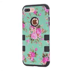 iPhone 8 Plus - Elegant Smart Skyddande Fodral (Blommönster) Blå