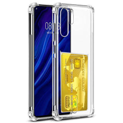 Huawei P30 Pro - Smidigt Skal med Korthållare Transparent/Genomskinlig