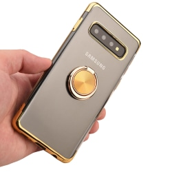 Kraftfullt Smart Silikonskal Ringhållare - Samsung Galaxy S10+ Guld