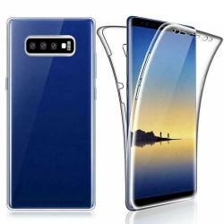 Dubbelt Silikonfodral med Touchfunktion - Samsung Galaxy S10 Transparent/Genomskinlig
