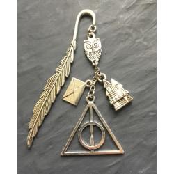 Bokmärke Harry Potter Hogwarts Hedwig Dödsrelikerna Hallows Silver